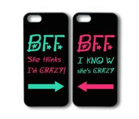 Best Friends Forever 2pcs -- iphone 5 case in black or white plastic by default, silicone also available